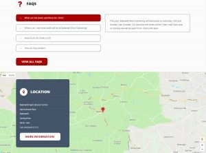 FAQs and Location section on the home page