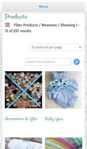 Mobile products page